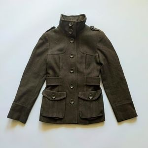 H&M Wool Military Style Coat Olive Green